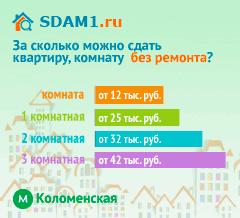 Сдать квартиру в Москве м.Коломенская без ремонта цены на аренду