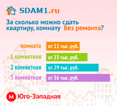 Сдать квартиру в Москве м.Юго-Западная без ремонта цены на аренду