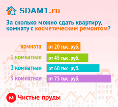 Сдать квартиру в Москве м.Чистые пруды с косметическим ремонтом цены на аренду