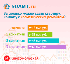 Сдать квартиру в Москве м.Комсомольская с косметическим ремонтом цены на аренду