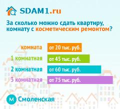 Сдать квартиру в Москве м.Смоленская с косметическим ремонтом цены на аренду